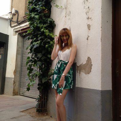 Vestido blanco y verde